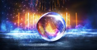 Glass ball, reflection of neon lights, rays, glare. Abstract neon background. Wet asphalt, reflection of neon lights, a searchlight, smoke. Abstract light in a royalty free illustration
