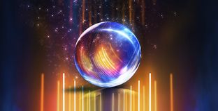 Glass ball, reflection of neon lights, rays, glare. Abstract neon background. Wet asphalt, reflection of neon lights, a searchlight, smoke. Abstract light in a vector illustration