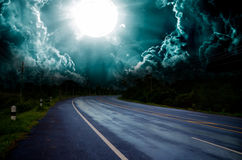 Wet asphalt road curve Stock Photos