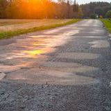 Wet asphalt road with sun reflections Stock Images