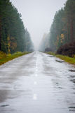 Wet asphalt road with sun reflections Stock Photography