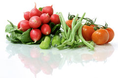 Wet assorted veggies stock photography