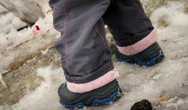 Wet baby's feet and snow in winter Royalty Free Stock Photography