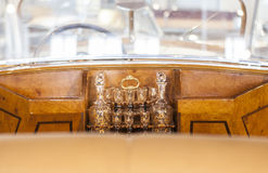 Wet bar detail in a classic luxury car Royalty Free Stock Photography