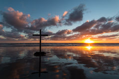 Wet Beach Cross Royalty Free Stock Photo