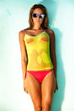 Wet beauty. Young woman in bikini and wet T-shirt Stock Image
