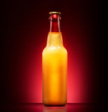 Wet beer bottle. On a colored background Stock Photo