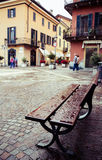 Wet bench in an old Italian town Royalty Free Stock Photo