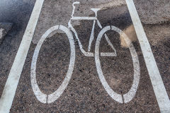 Wet bicycle Lane Royalty Free Stock Photo