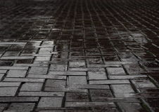 Wet black brick road after heavy rainfall Royalty Free Stock Image