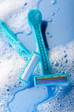 Wet blue razors Royalty Free Stock Image