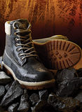 Wet Boots. Rock soild a pair of wet boots Royalty Free Stock Photos