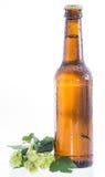 Wet bottle of Beer on white Royalty Free Stock Image