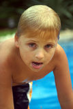 Wet boy. Casual portrait of six year old boy Royalty Free Stock Photography