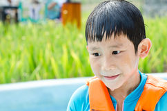 Wet boy wearing blue life jacket Stock Photography