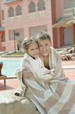 Wet Brother and Sister on resort Royalty Free Stock Photos