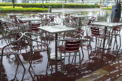 Wet Cafe. Outdoor wet cafe furniture after heavy rain Stock Photos