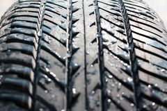 Wet car tyre (tire) Stock Photography