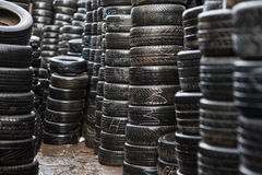 Wet car tyres Stock Image