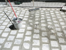 Wet cement grouting Royalty Free Stock Photo