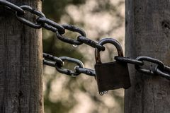 Wet chain and padlock royalty free stock images
