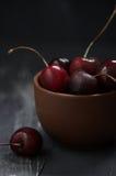 Wet cherries in bowl Royalty Free Stock Photo