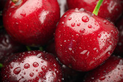 Wet cherries close-up Stock Photo