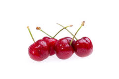 Wet Cherries On White Stock Photos