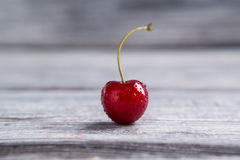 Wet cherry on gray surface. Stock Images