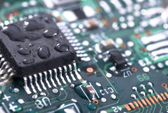 Wet circuit board Stock Image
