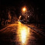 Wet city street at night Stock Image