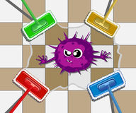 Wet cleaning with a mop. abstract vector illustration Stock Photo