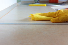 Wet cleaning. Wipe the furniture with a damp cloth Stock Photo