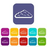 Wet cloud icons set flat. Wet cloud icons set vector illustration in flat style In colors red, blue, green and other Stock Image