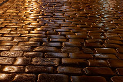 A wet cobbled street Royalty Free Stock Photos