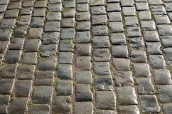 Wet cobbles of block pavement Stock Images