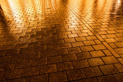 Wet Cobblestone pavement in Berlin, Germany Stock Photos