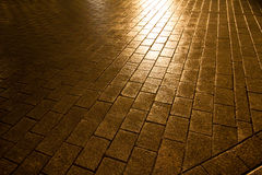 Wet Cobblestone pavement in Berlin, Germany Stock Image