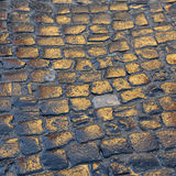 Wet cobblestones reflect the sun Royalty Free Stock Photos
