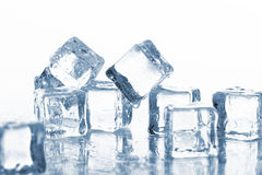 Wet and cold ice cubes Stock Photo