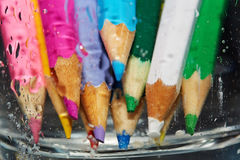 Wet color pencils Royalty Free Stock Image