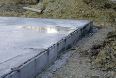 Wet concrete. In construction process Stock Photography