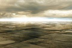 Wet concrete floor. And cloud on sky, 3D Rendering Stock Images