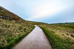 Wet countryside path - Seven Sisters, Sussex UK. Feb 2018 Stock Photos