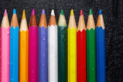 Wet crayons Stock Photography