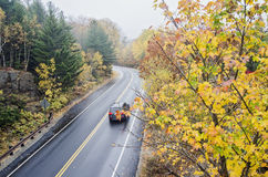 Wet curved road in Acadia National Park stock photo