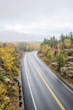 Wet  curved roads in Acadia National Park Royalty Free Stock Image