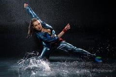 Wet dancing woman. Stock Photo