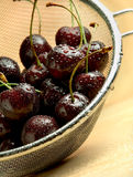 Wet dark cherries in mesh sieve on wooden table Royalty Free Stock Photography