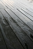 Wet Deck. A close up on a wet wood deck Royalty Free Stock Images